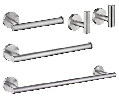 USHOWER Brushed Nickel Bathroom Hardware Set, Includes 16-Inch Bath Towel Bar, Durable SUS304 Stainless Steel, 5-Piece