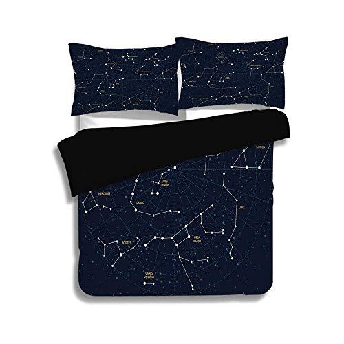 LIS HOME Schwarzer Bettbezug-Set, Sternbild, Himmel Karte Andromeda Lacerta Cygnus Lyra Hercules Draco Luchs, Dunkelblau Gelb Weiß, Dekorativ 3 Stück Bettwäsche-Set von 2 Pillow Shams, Twin Size