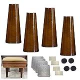 DSDD 4 Patas de Madera Maciza para Muebles de Cocina, Patas de sofá Verticales, Patas de Repuesto de Patas de Silla de Color Nogal de Mediados de Siglo, para sillón reclinable, Mesa de Centro, Ap