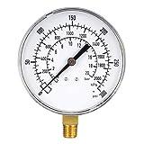 Manómetro de montaje inferior, escala doble de 0-300 psi/kPa, pantalla de esfera de 3-1/2', macho NPT de 1/4', con internos de latón para compresor de aire, agua, aceite, gas