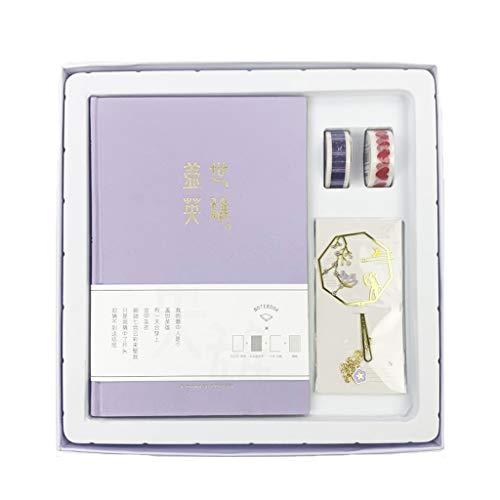 XXT (Caja de regalo manual de proceso de estampación de papel de aluminio con hebilla magnética, cuaderno manual retro (color morado)