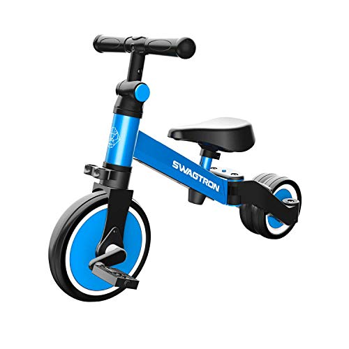 SWAGTRON K7 3-in-1 Ride-On Balance Trike, Tricycle and Balance Bike for Kids Ages 10 Months-5 Years, Fully ASTM F963 Certified First-Time Toddler Scooter with Quick Assembly & Easy Transformation
