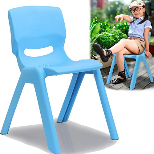 Kinderstuhl mit Rückenlehne bis 100kg belastbar stapelbar und kippsicher Indoor und Outdoor geeignet (aus Kunststoff) (Blau)