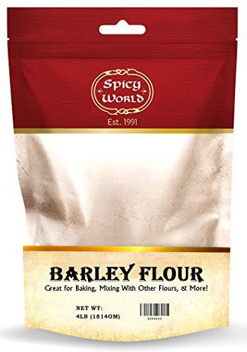 Spicy World Barley Flour 4 Pound Bag (64oz) - All Natural, Raw, USA Grown
