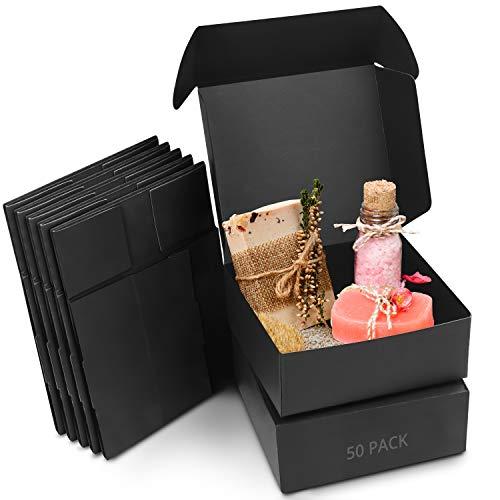 Kurtzy Cajas de Cartón Kraft Negras (Pack de 50) – Medidas de las Cajas 12 x 12 x 5 cm - Caja Kraft Fácil Ensamblado Cuadrada Presentación - Cajitas para Regalos, Fiestas, Cumpleaños, Bodas
