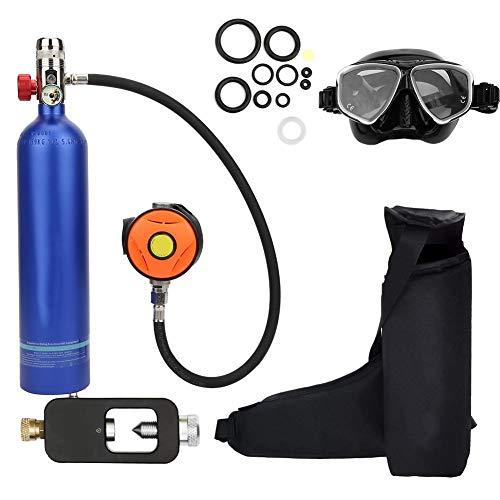 Sauerstoffflasche Kit, Mini Taucherflasche Tauchausrüstung Set, Pressluftflasche Schnorcheln Unterwasser Atemgerät Tauchausrüstung Taucher Zubehör, Nchfüllbarem Design(Blau)