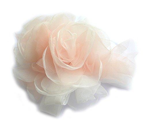 LIDALYDI Broche Fleur pour Robe de mariée et Robe de soirée en Tissu Organza et Tulle. Couleur Ivoire et Orange Clair.