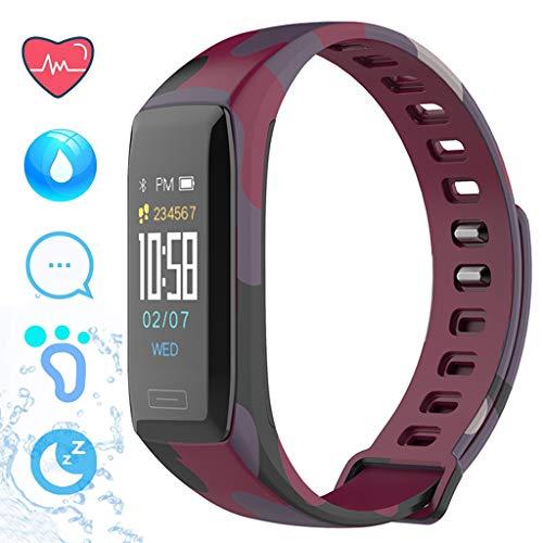 LTLJX Herren Fitness Armband, Damen Sportuhr IP67 Wasserdicht mit Pulsmesser Farbbildschirm Aktivitätstracker Schrittzähler Intelligente Uhr 0.96'' für iOS Android,Lila