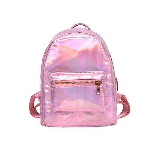 CHIC DIARY Silber/Pink Rucksack Damen Mädchen Schulrucksack Daypack aus Laser Kunstleder Holo-Rucksack für Reise Outdoor Shopping (Pink)