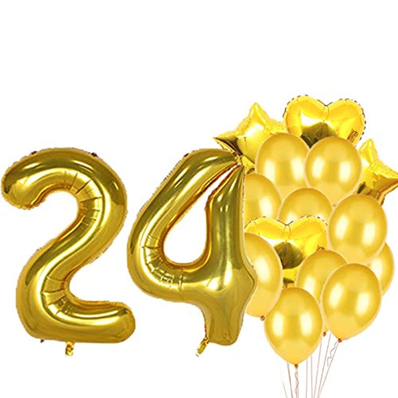 Sweet 24th Birthday Decorations Party Supplies,Gold Number 24 Balloons,24th Foil Mylar Balloons Latex Balloon Decoration,Great 24th Birthday Gifts for Girls,Women,Men,Photo Props