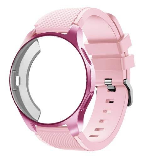 ZAALFC Caso de Silicona + Banda para Samsung Galaxy Watch 46mm / 42mm Correa Strap Gear S3 Frontier Band Wamkband + Funda Protectora (Band Color : Vintage Rose 25, Band Width : Gear Sport S2)