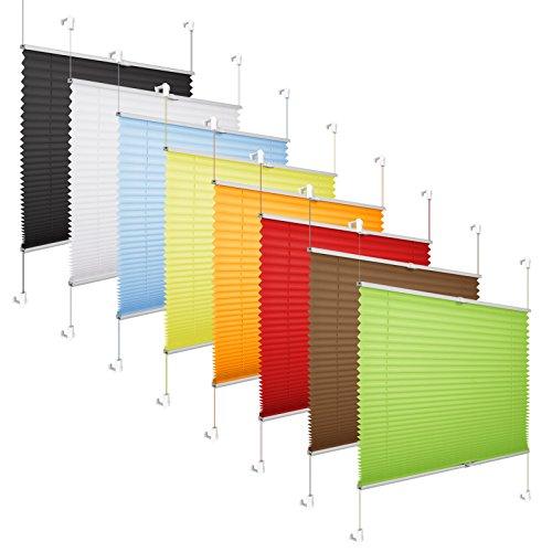 Grandekor Plissee Klemmfix Plisseerollo ohne Bohren (90x100cm Weiß), Fensterrollo Faltrollo Easyfix lichtdurchlässig Sicht- & Sonnenschutz für Fenster & Tür