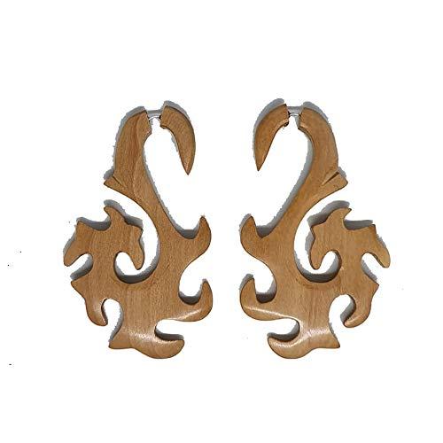 Superb Wooden Earrings Tibetan Tribal Fake Gauge Handmade Carved Women Girls Ladies Unisex Jewellery