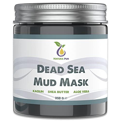 NATURA PUR Totes Meer Gesichtsmaske 250g, vegan - NATURKOSMETIK Anti Pickel, Mitesser Maske und gegen Akne - Anti-Aging Pflege gegen unreine Haut - Schlamm Maske für Gesicht und Körper