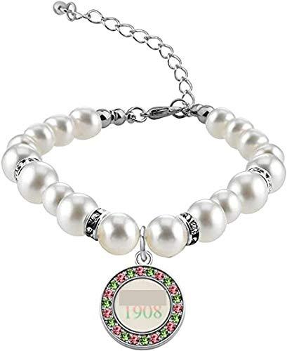POTIY Sorority Gift Pink Pearl Bracelet Graduation Gifts Paraphernalia Charm Nature Pink Pearl Bracelet for Women (White Pearl Bracelet-2)