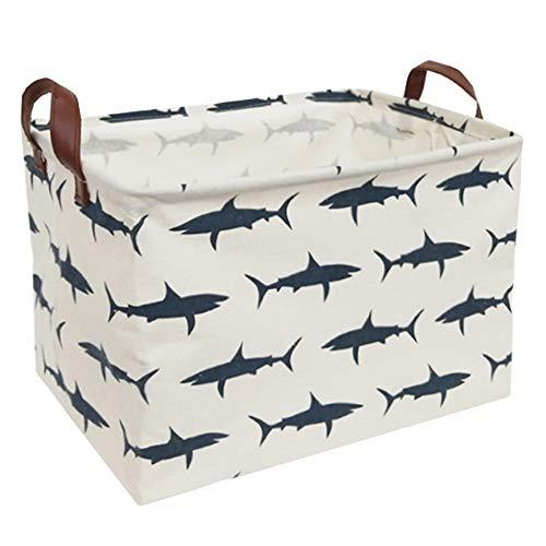 Sanjiaofen Rectangular Canvas Storage Bins,Waterproof Storage Basket,Collapsible Toy Organizer Bin with Handles for Clothes Storage, Kids Toy Box,Book Bag (Sharks)