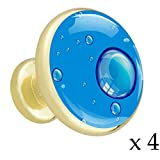 Wassertropfen Blau W01 4 Stück Gold Knöpfe Mixed Metal Küchenmöbel Schublade Griffe und zieht Metalllegierung Knöpfe mit goldenem Metallboden für Schränke, Garderobe, Türen, Kommode 32mm