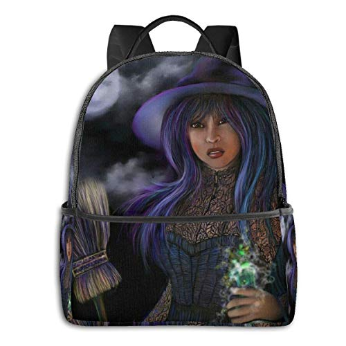 Lawenp Halloween Witch Broomstick Magic Multi-Functional College Bags Students High School Girls Casual Daypack Kids Travel Backpack School Laptop Bookbags Teens Boy Outdoor Accessories