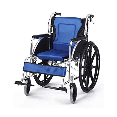 Gpzj Rollstuhl, blau zusammenklappbar Leichter älterer Roller Älterer Behinderter Tragbarer Rollstuhlwagen, Produktgröße: Länge: 41