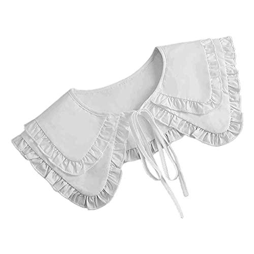 YOURPAI Châle pour femme, double couche, faux col blanc à volants