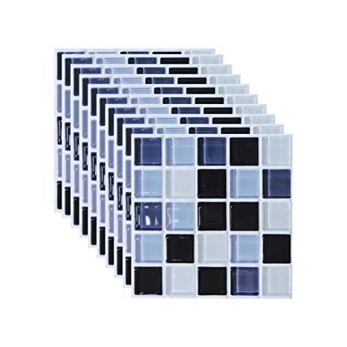 Andiker 10 Hojas de Pegatinas Azulejos 15 cm x 15 cm, 2D Impermeables Autoadhesivas Pegatinas de Baldosas, DIY Papel Azulejo Transferencias, Pegatina para Decorar Azulejos Muebles Cocina Baño