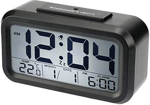 SIAMO® Smart Alarm Table Clock with Digital Backlight, Smart Display Time, Automatic Sensor, Date & Temperature | Alarm Clocks for Bedroom, Table Desk | Alarm Clocks for Students | (Black)
