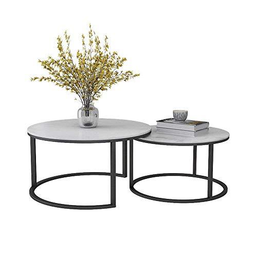 GAOLIM Moderne geometrische Nesting Couchtische , Beistelltisch für Wohnzimmer, 2er-Set, runde Marmortischplatte mit Goldfuß (Farbe: Schwarz)
