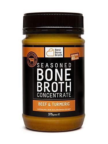 BONE BROTH Caldo concentrado de hueso bovino de calidad premium con sabor a cúrcuma - proveniente de ganado 100% australiano, criado en libertad y alimentado a hierba – Piel y uñas más sanas
