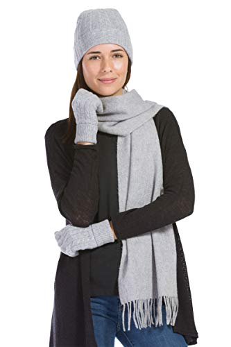 100% Cashmere 3pc Hat Glove and Scarf Set