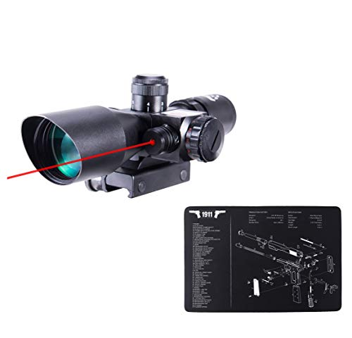 """Pinty 2.5-10x40 Red Green Illuminated Mil-dot Tactical Rifle Scope with Red Laser Combo&Pinty Handgun Cleaning Mat Detailed Pistol Diagram & Assembly Instructions 17""""x11"""""""
