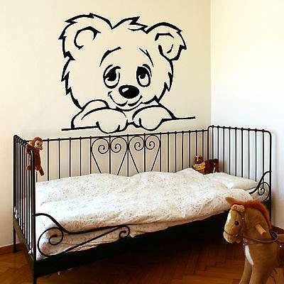 KTTO Schöne Cartoon Bär Wandaufkleber Für Babys Kinderzimmer Wohnkultur Teddybär Regenschirm Klassenzimmer Wandtattoos Schwarz 72X53 cm
