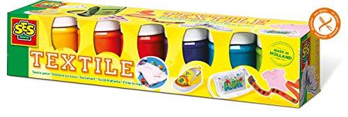 SES- Juego de Seis Pinturas para Tela para Niños, Multicolor (6 Colores), 6 x ± 45 ml (00331)
