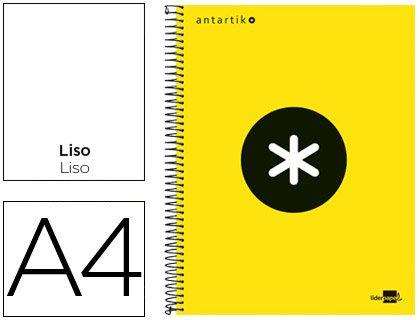 Liderpapel 74628 - cuaderno espiral A4 micro Antartik tapa forrada 120h 100gr liso con bandas 4 taladros color Amarillo