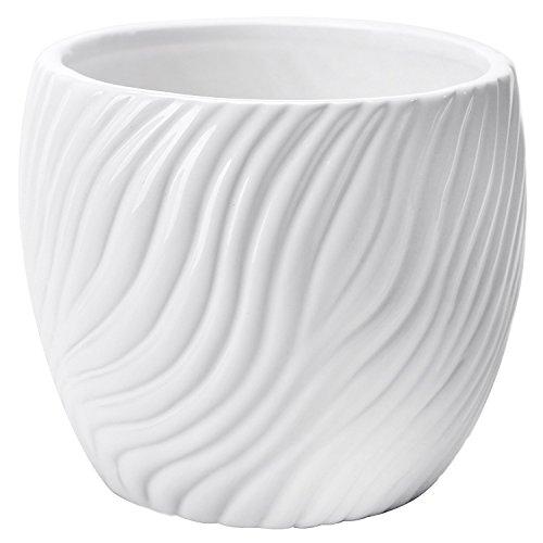 4.5 Inch White Ceramic Textured Swirl Design Flower Planter Vase, Small Succulent Plant Pot