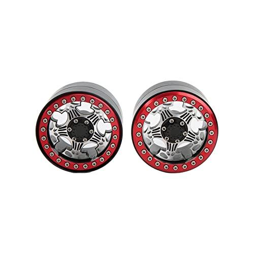 RiToEasysports 2Pcs RC Beadlock Wheel Rims 2.2inch Aluminium Alloy 5 Spoke Beadlock Wheel Hub for Axial SCX10 1/10 RC Car(red)