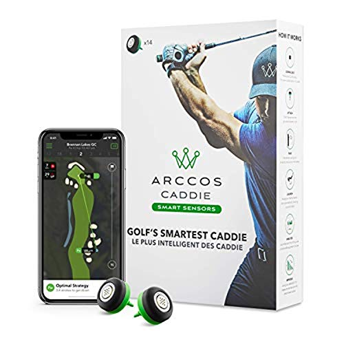 Arccos Caddie Smart Sensors Featuring Golf's First-Ever A.I. Powered GPS Rangefinder (3rd Generation) Black & Green