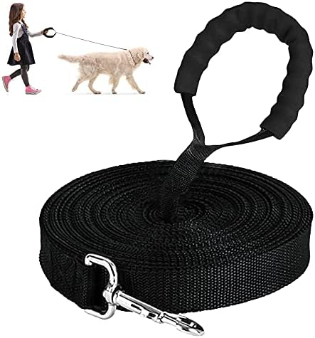 Training Lead for Dogs,3m Nylon Dog Leash with Padded Handle,Bite Proof Dog Lead for Pet Tracking Training Recall Lead for Large Medium Small Pet Black