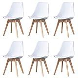 Nordic Time Un conjunto de 4/6 diseño ergonómico, silla de comedor tapizada, 83 cm x 48 cm x 47 cm, adecuado para comedor, dormitorio, sala de recepción (blanco, 6)