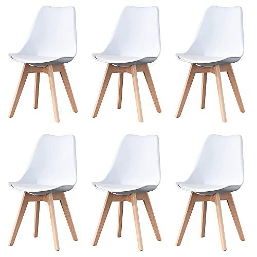 Herbalady Juego de sillas de estilo nórdico 4 6, tapizadas y patas de madera natural, utilizado en varias ocasiones, multicolor opcional (Blanco-2, 6)