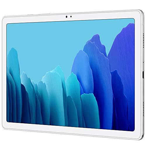 "Samsung Galaxy Tab A7 10.4"" (2020, WiFi + Cellular) 32GB 4G LTE Tablet & Phone (Makes Calls) GSM Unlocked, International Model w/US Charging Cube - SM-T505 (WiFi + Cellular, Silver)"