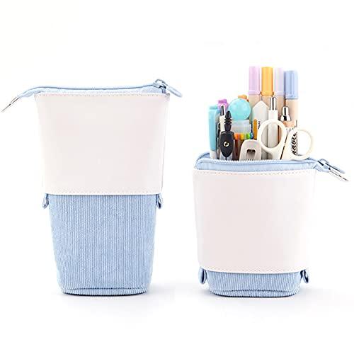Estuche plegable para lápices telescópicos, estuche de papelería de PU de pana de pie transformador bolsa de gran capacidad de regalo para niños
