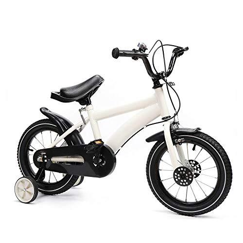 Aohuada 14-Zoll-Kinderfahrrad Unisex-Fahrrad Kinderfahrrad Carbon Steel Jungen Fahrrad Trainingsrad Sicherheitsstativ (White)