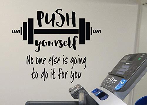 Calcomanías de vinilo para pared con citas de Push Yourself Gym Cotes con barra de entrenamiento, ejercicio, deporte, murales de vinilo para el hogar, el interior del dormitorio, 50 x 42 cm