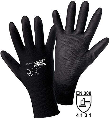 L+D worky MICRO black Nylon-PU 1151 Nylon Arbeitshandschuh Größe (Handschuhe): 11, XXL EN 388:2016 CAT II 1 Paar