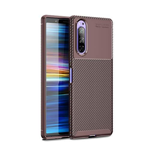 Botongda Coque Sony Xperia 5,Étui Mince Antichoc Doux Fait d'un mélange de Silicone et de TPU,étui Protecteur antidérapant Mat en Fibre de Carbone Convient pour Sony Xperia 5 (Marron)