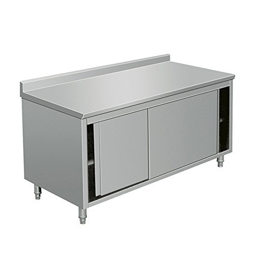 EQ Kitchen Line Stainless Steel Commercial Prep Work Table Sliding Door Storage Cabinet 72 x 28 x 38 inch