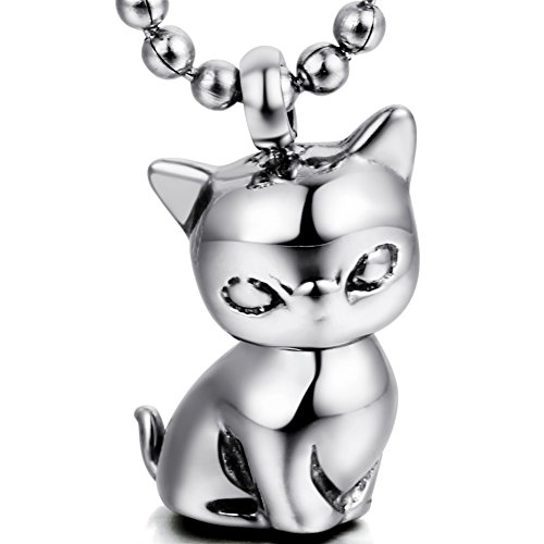 OIDEA - Colgante de fantasía para hombre y mujer, diseño de gato, color plata de acero inoxidable, con bolsa de regalo