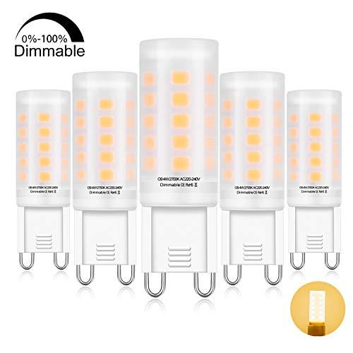 G9 LED Dimmbar Lampe 4W Warmweiß, LED G9 glühbirne 400LM Ersatz für 40W G9 HalogenLampen, G9 Sockel, AC220-240V, (DxH):16 * 52mm,360 ° Abstrahlwinkel, CRI> 83,G9 LED Leuchtmittel 5er Pack