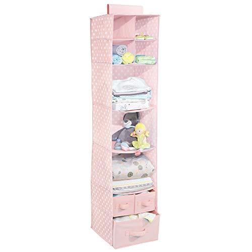 mDesign Organizador Colgante con 7 estantes y 3 cajones – Armario Perchero de Tela con Estampado de Lunares – Colgador para Zapatos Ideal para el Pasillo y el Dormitorio – Rosa/Blanco