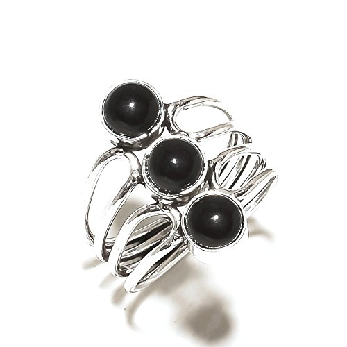 Black ONYX! Exotic RING! Gift For Girlfriend, Silver Plated! HANDMADE Jewelry Art! All Variety Store Ring Size 8.5 US (Adjustable)